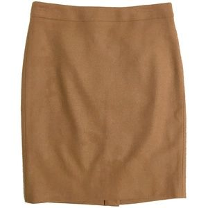 J. Crew Tan Wool Pencil Skirt Size 2 NWT